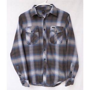 RVCA Plaid Button Up Long Sleeve Flannel Shirt